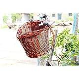 Genérico Cesta de Bicicleta Mimbre Bici con Cordón Canasta Enceste