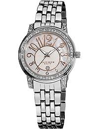 Akribos XXIV AK586SS Lady Diamond reloj de cuarzo de acero inoxidable de brillo nacarado de la mujer