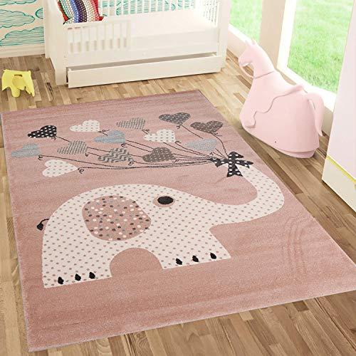 Fashion4Home | Kinderteppiche Elefant mit Herzen Ballons | Kinderteppich für Mädchen und Jungs | Teppich für Kinderzimmer | Schadstofffrei
