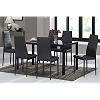 Warmiehomy Dining Table Chairs, Glass Dining Table Set And 6 Faux Leather  Chairs Black (