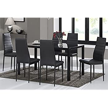 Dining Table Chairs, WarmieHomy Glass Dining Table Set And 6 Faux Leather  Chairs Black (Dining Table With 6 Chairs)