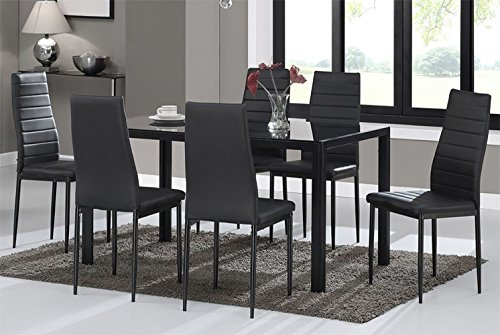 WarmieHomy Dining Table Chairs, Glass Dining Table Set and 6 Faux Leather Chairs Black (Dining Table with 6 Chairs)