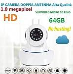TELECAMERA IP CAMERA HD 720P WIRELESS LED IR LAN MOTORIZZATA WIFI RETE CON AUDIO IP Camera con connettività di rete e un web server potente per trasportare attraverso la rete il video da qualsiasi parte ci colleghiamo ad Internet. Ideale sia per casa...