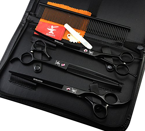 HEMATITE Set de tijeras de peluquería profesional negro de 8 pulgadas, tijeras de corte de gato y perro y tijeras de entresacar, incluyendo peine, estuche negro ...