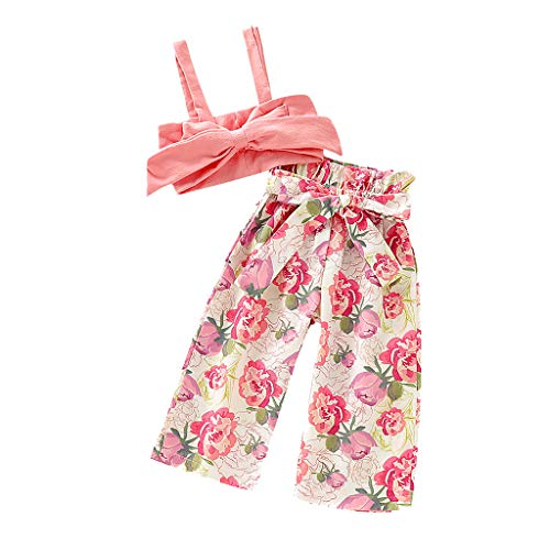 t,Kleinkind Baby Mädchen Spitze Crop Tops T Shirt+gestreifte Schnürung Hose Outfits,Sommer Kleidungs Outfits Shorts Kleidung Bodysuit Playsuit Set Babykleidung (80, Rosa) ()