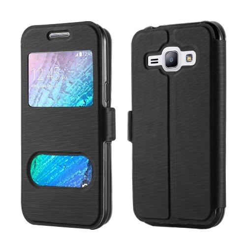 betterfon Samsung Galaxy J1 SM-J100 / Galaxy J1 Duos Schwarz Flipcover Handytasche Schutzhülle Case Buch Klapptasche Handyhülle Handy Schale + Gratis Displayschutzfolie