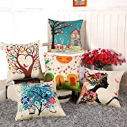 AEROHAVEN™ Set of 5 Abstract Decorative Hand Made Jute Throw/Pillow Cushion Covers - (Multicolor, 16 Inch x 16