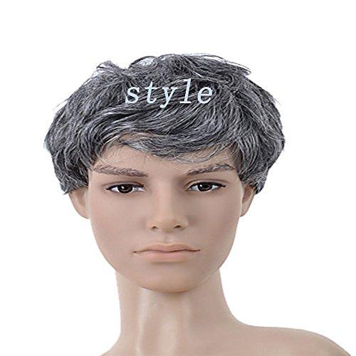 Net Haar Mode (Haned Herren Perücke Fashion Silber Grau graues Haar Set Rose Net Perücke kurz Wigperformance Mode, natürliche Lebensechte, Friseur, Friseure und Friseursalons, Cosply)