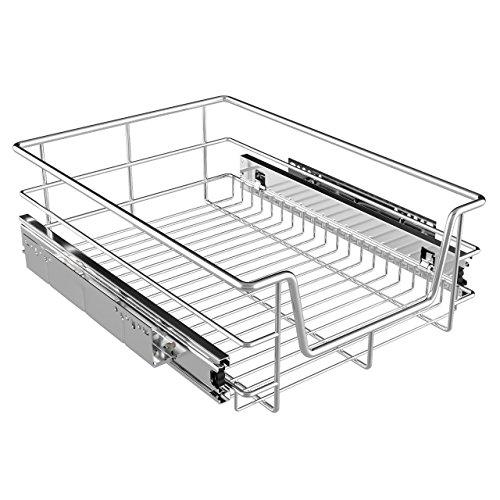 Homelux Teleskopschublade Küchenschublade Schlafzimmerschublade Verchromt für Schrankbreite 40 cm -