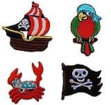 4-er Set: __ Pirat Bügelbilder - Piraten / Aufnäher Sticker - Applikation...