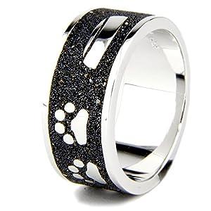 DUR Ring | Hund Pfote Knochen Napf | 925er Sterling Silber und Lava-Sand