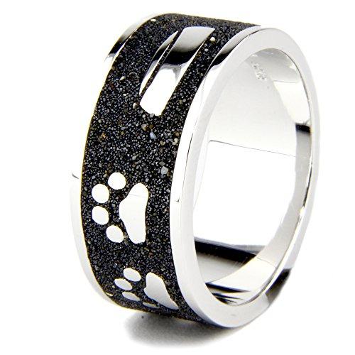 DUR Ring | HUND Pfote Knochen Napf | 925er Sterling SILBER und LAVA-SAND (58 (18.5)) (Sterling Pfote Silber Ring)