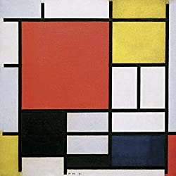 Impresión sobre lienzo (Canvas Prints) Piet Mondrian Composition with Lines and Colors