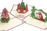 3d di Natale carta regalo di biglietto buon Natale; Biglietti di Natale con busta, in carta, albero di Natale, Babbo Natale, Angelo, Pop Up Slot, 3d, biglietti di Natale, biglietto d' auguri, Advent Slot