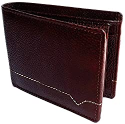NUKAICHAU Brown Single Fold Mens Leather Wallet