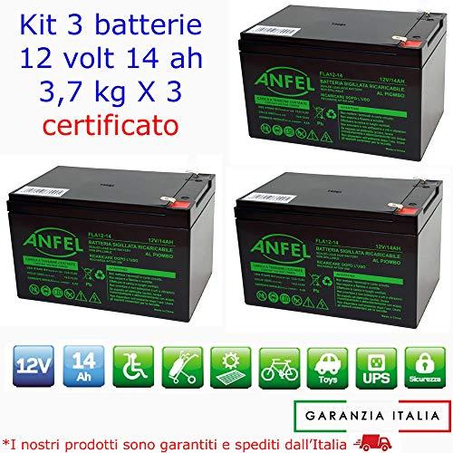 KIT 3 BATTERIE AL PIOMBO RICARICABILE 12V 36V 14AH PER BICI BICICLETTE ELETTRICHE MONOPATTINI QUAD ELETTRICI TRAZIONE ELETTRICA CONNETTORI DEEP F2 6,3 mm CYCLE 6-DZM-14 6DZM14