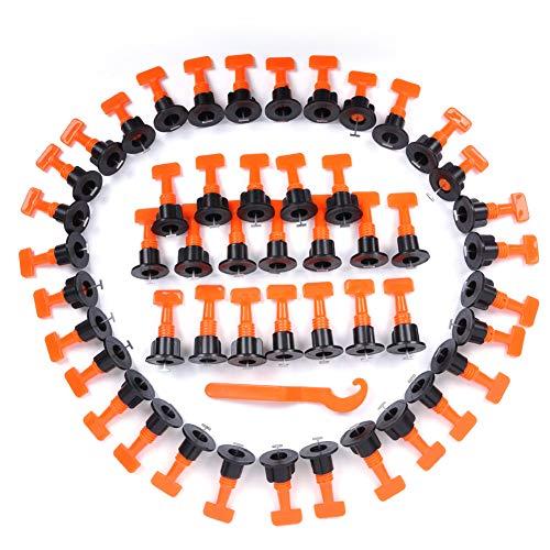 Rain Queen - Sistema de nivelación para baldosas de 3 a 25 mm de grosor en T agujas, pinzas de tracción reutilizables para suelos de pared, naranja