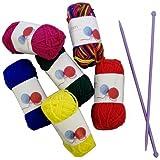 Craft Knitting Kit With Needles ~ 6 Multi Colour Knitting Yarns