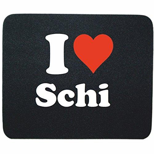 """Preisvergleich Produktbild Exklusive Geschenkidee: Mauspad """"I Love Schi"""" in Schwarz, eine tolle Geschenkidee die von Herzen kommt- Rutschfestes Mousepad- Weihnachts Geschenktipp"""
