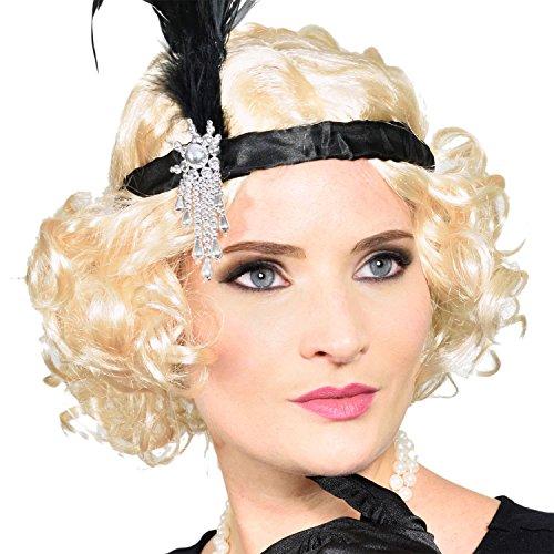 Charleston 20er Jahre Perücke blonde Kurzhaar-Perrücke für Burlesque Kostüm Kleid Outfit (Kleid Kostüme Burlesque)