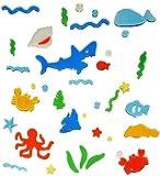 Unbekannt 37 tlg. Set Gel Sticker / Aufkleber / Wandtattoo / Fensterbild - Fische Haifisch Fisch Fenster Bad - wasserfest - selbstklebend Wandsticker Glassticker