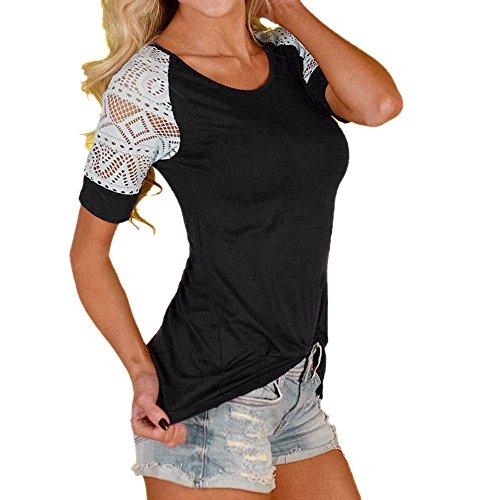 Damen T-shirt Spitze Ärmel, Sunday Damen Mode Frauen Sommer Bluse Casual Tops Spitze T-Shirt T Kurzarm Mode Shirt (EU 38, Schwarz)