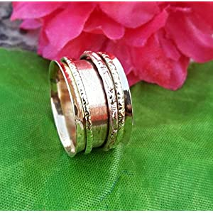 Anxiety Ring for Meditaion, 925 Sterling Silver Spinner Band Rings for Women, Gift Ring for Mother's Day