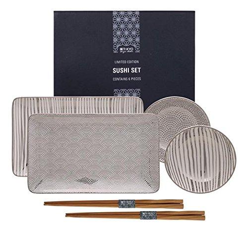Tokyo Design Studio, Sushi Assiette+bol+baguette, porcelaine japonais, Limited Edition Platinum - Coffret de 2