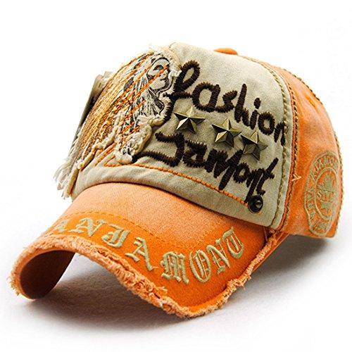 Kuyou Vintage Baseball Mütze Caps Distressed Sport Trucker Hat (Orange) (Distressed Trucker Hat-cap)