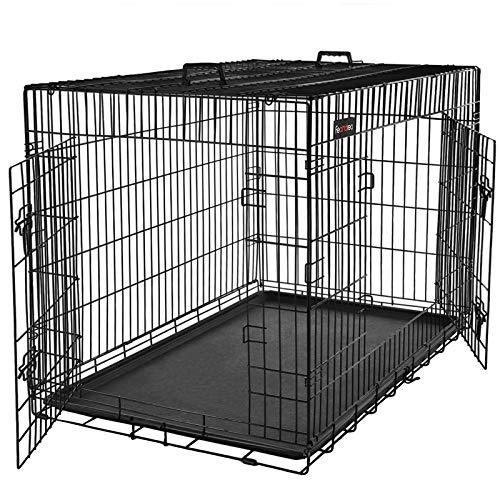 FEANDREA HundeKäfig 2 Türen Hundebox Transportbox faltbar DrahtKäfig Katzen Hasen Nager Kaninchen Geflügel Käfig schwarz XL 91 x 64 x 58 cm PPD36H -