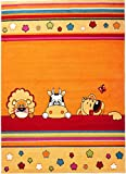 """Area Rug for Kids Room - multicoloured Orange Pink - Child Cartoon- Colorful Soft Warm Carpet - Many Colours & Sizes - Oeko-Tex Safety Certificate """" OBELIX """" 140 x 190 cm ( 4ft7"""" x 6ft3"""" ) Large"""