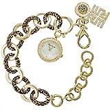 Ricarda M. Damen Bettel-Armband Damenuhr Rosé-Gold im Tigerlook 3 in 1 Set