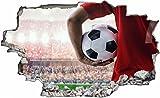 DesFoli Fussball Spieler 3D Look Wandtattoo 70 x 115 cm Wanddurchbruch Wandbild Sticker Aufkleber C520
