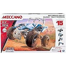 Meccano Off-Road Rally - juegos de construcción (Vehicle erector set, 8 año(s), 242 pieza(s), Negro, Azul, Plata, Metal, De plástico, China)