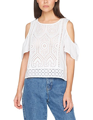 New Look Damen T-Shirt Cutwork Front Weiß