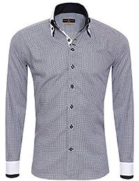 450e444b00c594 Giorgio Capone Herrenhemd, 100% Baumwolle, Schwarz-Weiß, Pepita Muster,  Doppelkragen