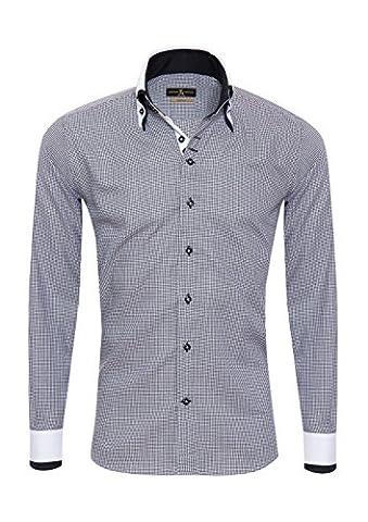 Giorgio Capone Herrenhemd, 100% Baumwolle, schwarz-weiß, Pepita Muster, Doppelkragen, Langarm, Slim & Regular Fit (XXL Reg mit (Easy Care Leinenhemd)