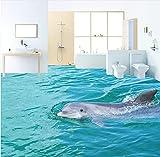 Yosot Hd Tour Oberfläche Delphin 3D Bodenbelag Tapete Verdickt Rutschfeste Schlafzimmer Bad Lobby Quadrat Bodenbelag Wandbild-140Cmx100Cm