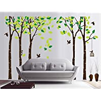 Rocwart Tree Wall Sticker for Living Room Children Kids Wall Decoration Removable Vinyl Wall Decal Art Home Decoration 104x71,Green+Brown