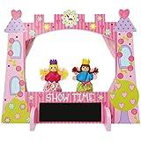Teatro de marionetas de madera rosa con forma de castillo y dos marionetas incluidas de Lucy Locket.