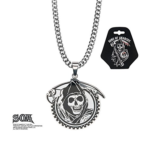 Sons Of Anarchy Stainless Steel Collana con Ciondolo Grim Reaper Gunsickle SASO