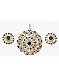 DollsofIndia Faux Zirconia And Garnet Stone Studded Pendant And Earrings - Metal (LA50-mod) - Red