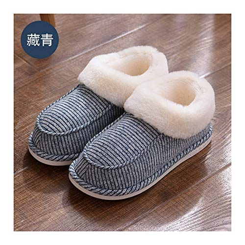 GAOHUI Slippers Männer Frauen Thermisch Anti Skid Home Verschleiß Hausschuhe Aus Baumwolle Winter Indoor Outdoor Casual Bag Ferse Schuhe, Deep Blue, 40-41 (Blue Uggs Leder)