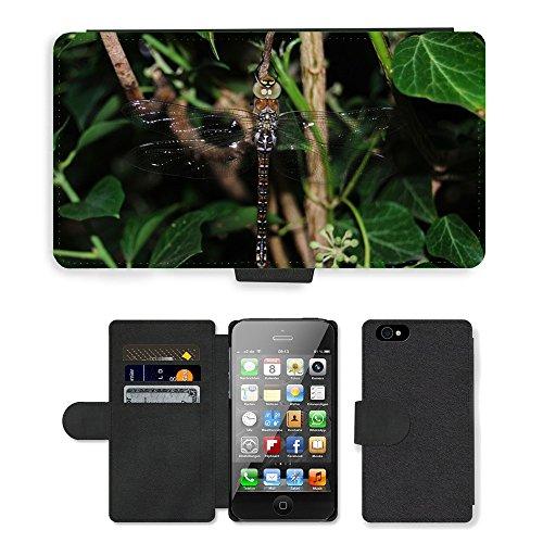 Just Mobile pour Hot Style Téléphone portable étui portefeuille en cuir PU avec fente pour carte//m00138122Libellule æschne MIXTA ailes/insectes/Apple iPhone 44S 4G
