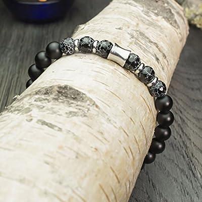 Bracelet Homme/Femme perles Ø8mm en pierre naturelle Agate Toile d'araignée facette Agate/Onyx Noir Mat Anneaux Acier inoxydable fait Main création 1000ola