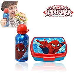 MV92185 Kit portamerenda in pvc Spiderman con borraccia salvagoccia 500ml. MWS