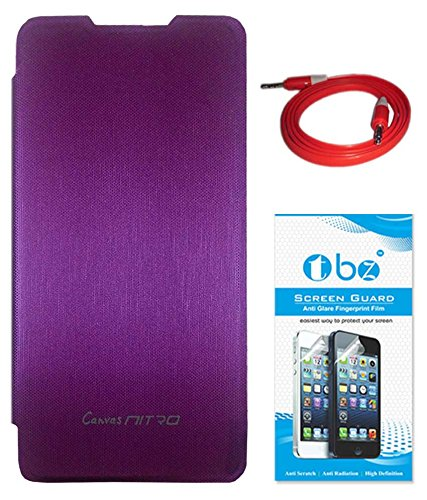 TBZ Flip Cover Case for Micromax Canvas Nitro A310 with AUX Cable and Screen Guard -Purple