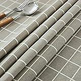 GWELL Leinen Tischdecke Eckig Abwaschbar Tischtuch Pflegeleicht Schmutzabweisend 10 Größe wählbar graue Karos 100 * 140cm - 7