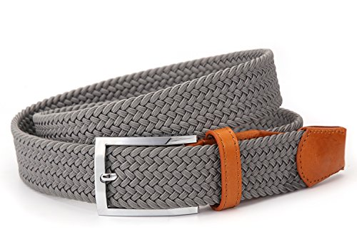 Men's Woven Stretch Belt Elastic Fabric and Imported Rubber Belts with Genuine Leather head and end tip