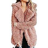 Damen Jacke Kunstfell 2018 European Style Warm Winter Jacke Frauen mit Fell Übergröße für Alltag, Freizeit, Party L Rose